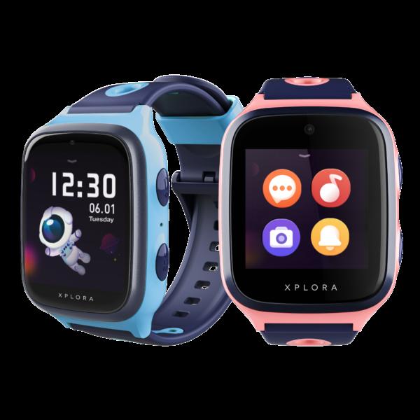 blå og lyserød xplora 4 smartwatch til børn