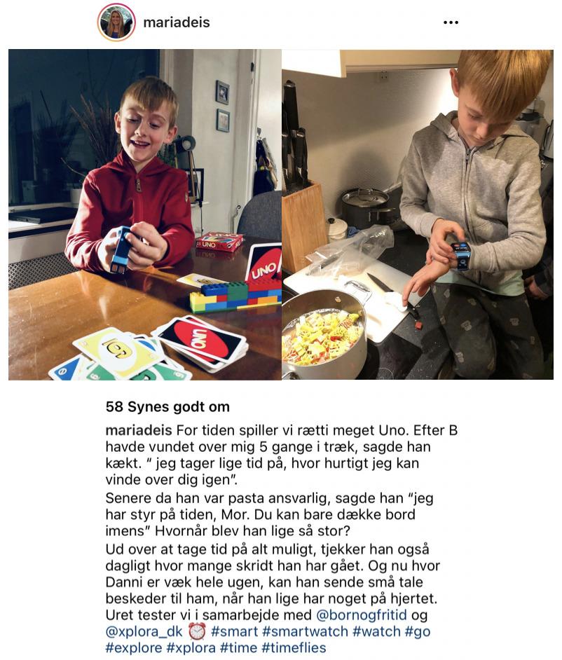 dreng spiller uno og tager tid på sit xplora 4